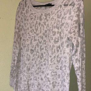 Express grey cheetah print see through sweater